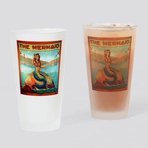 Vintage Mermaid Carnival Poster Drinking Glass