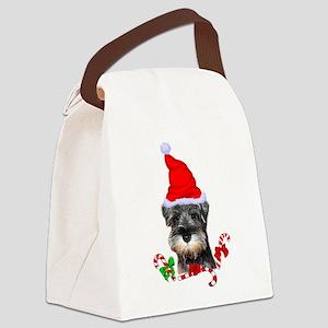 Miniature Schnauzer Christmas Canvas Lunch Bag