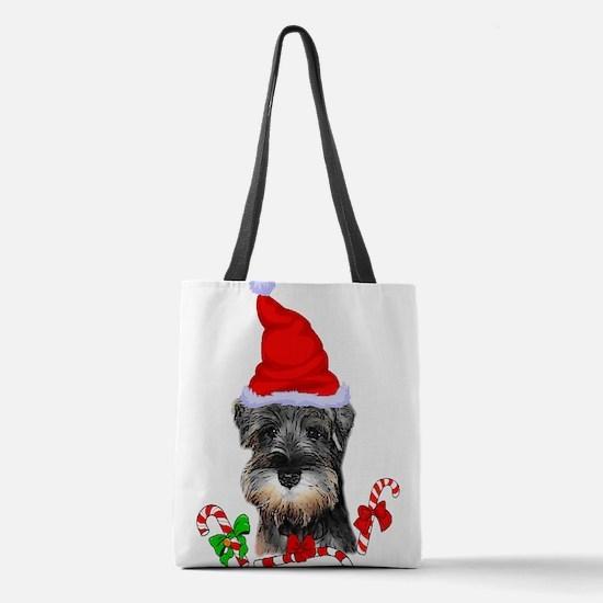 Miniature Schnauzer Christmas Polyester Tote Bag