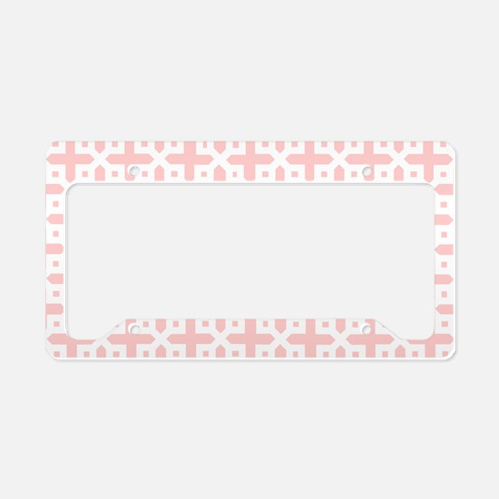 Pretty Pale Pink Cross Patter License Plate Holder
