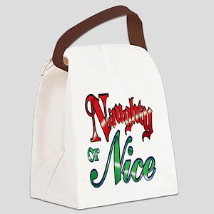 Christmas Naughty or Nice Cartoon Canvas Lunch Bag