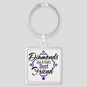 Diamonds P B Square Keychain