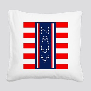NAVY vertical W 5 HOR STRIPES Square Canvas Pillow
