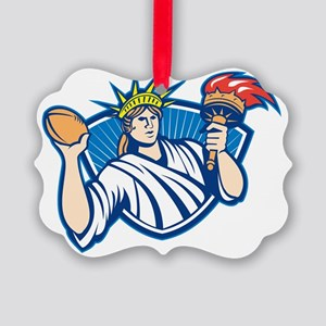 Statue of Liberty Throwing Footba Picture Ornament