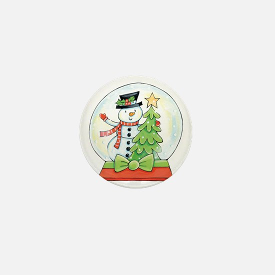 Cartoon Christmas Snow Globe Snowman T Mini Button