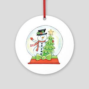 Cartoon Christmas Snow Globe Snowma Round Ornament