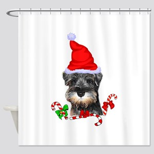Miniature Schnauzer Christmas Shower Curtain