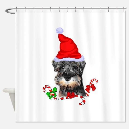Miniature Schnauzer Christmas Shower Curtain