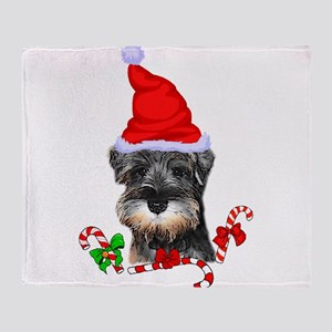 Miniature Schnauzer Christmas Throw Blanket