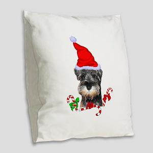 Miniature Schnauzer Christmas Burlap Throw Pillow