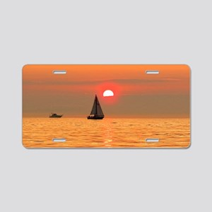 Boats at Sunset II - Hollan Aluminum License Plate