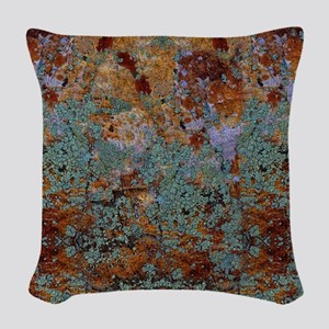 Rustic Rock Lichen Texture Woven Throw Pillow