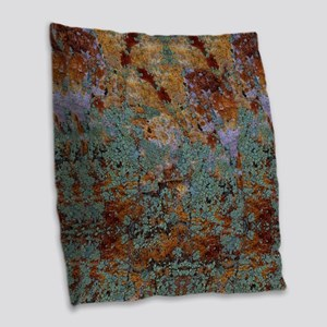 Rustic Rock Lichen Texture Burlap Throw Pillow