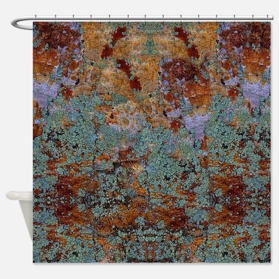 Rustic Rock Lichen Texture Shower Curtain