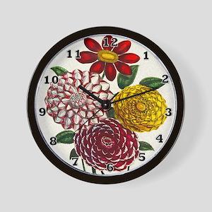 Dahlia Flowers Wall Clock