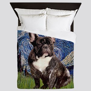 Starry-Brindle French Bulldog Queen Duvet