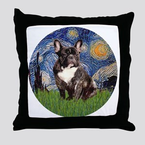 Starry-Brindle French Bulldog Throw Pillow