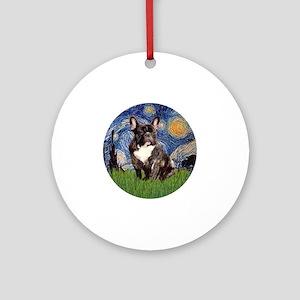 Starry-Brindle French Bulldog Round Ornament