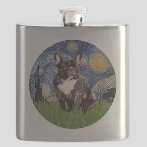 Starry-Brindle French Bulldog Flask