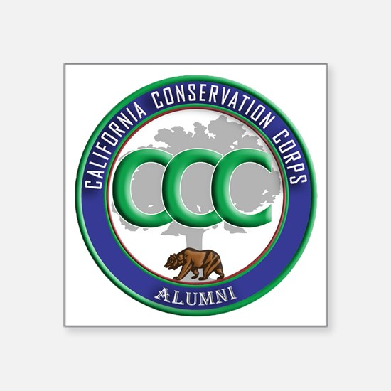 "CCC Alumni logo blue/green Square Sticker 3"" x 3"""