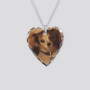 Head of a Dog by Renoir, Vint Necklace Heart Charm