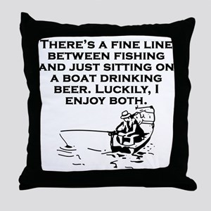 Fishing And Sitting In A Boat Throw Pillow