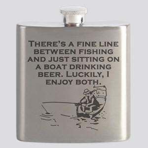 Fishing And Sitting In A Boat Flask