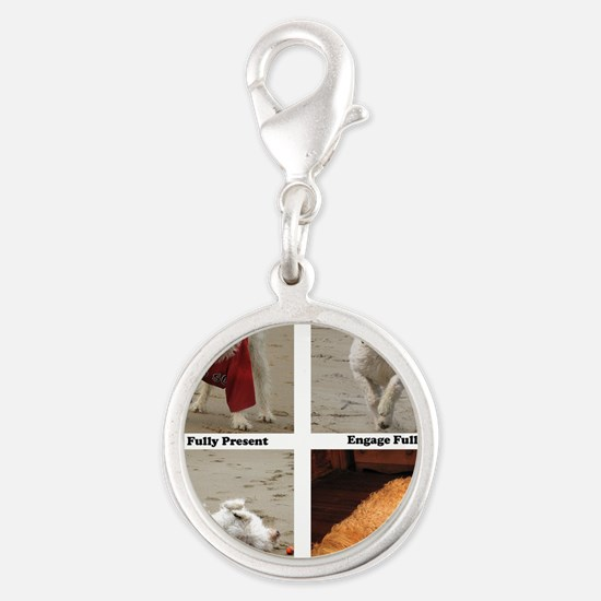 Dog Lessons for People Silver Round Charm
