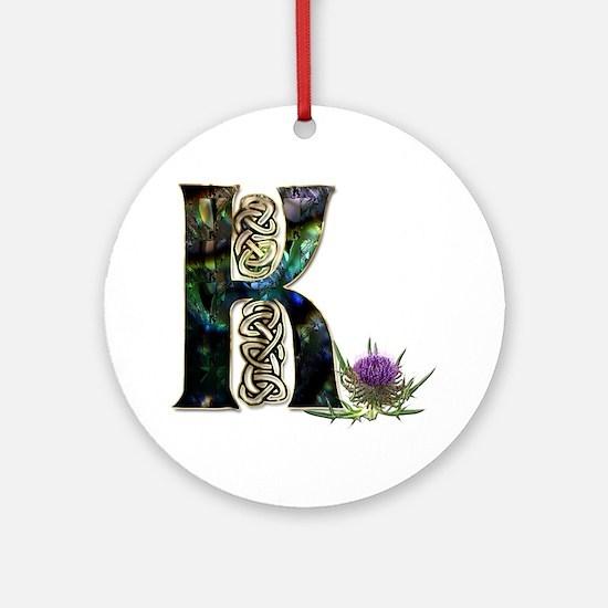 Cute Celtic k Round Ornament