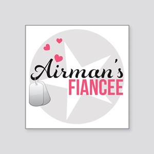 "Airmans Fiancee Square Sticker 3"" x 3"""