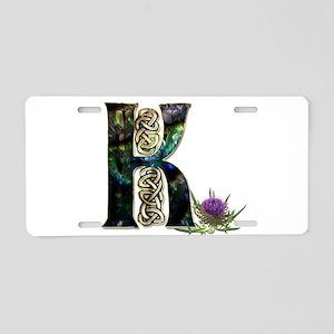 K Initial Celtic Thistle Aluminum License Plate