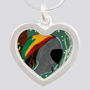 Rasta Alien - I Dig This Pla Silver Heart Necklace