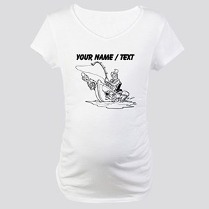 Custom Fishing Cartoon Maternity T-Shirt