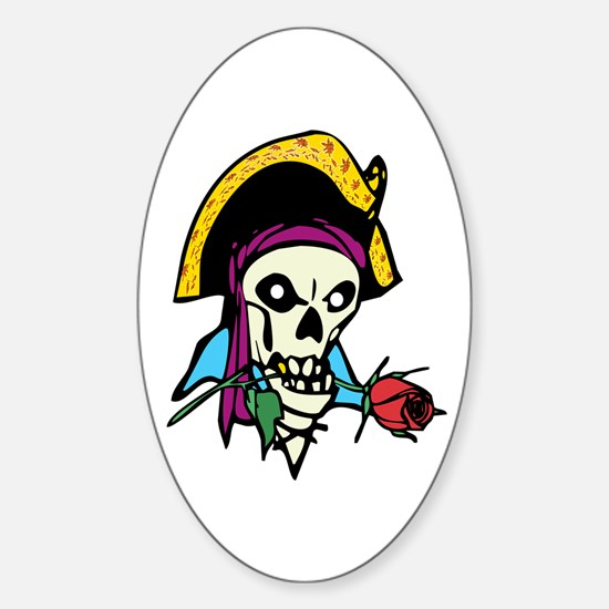 Pirate With Rose Oval Decal