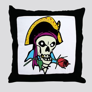 Pirate With Rose Throw Pillow