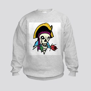 Pirate With Rose Kids Sweatshirt