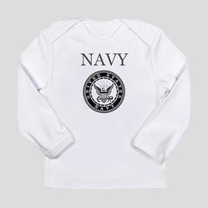 Grey Navy Emblem Long Sleeve T-Shirt