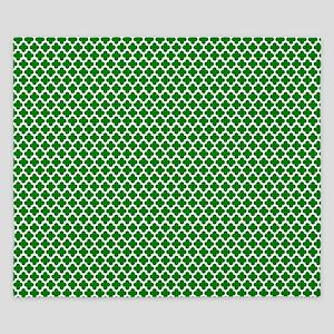 Green and White Crosses King Duvet