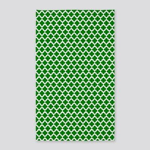 Green And White Crosses 3'X5' Area Rug