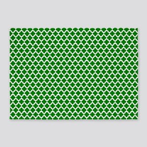 Green And White Crosses 5'X7'area Rug