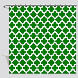 Green And White Crosses Shower Curtain
