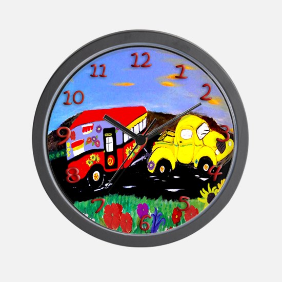 Yellow truck and Vintage Camper Wall Clock