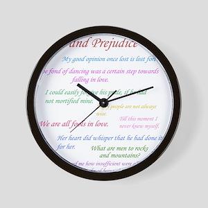 Pride and Prejudice Quotes Wall Clock