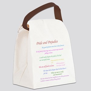 Pride and Prejudice Quotes Canvas Lunch Bag