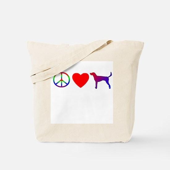 Peace, Love, American Foxhound Tote Bag