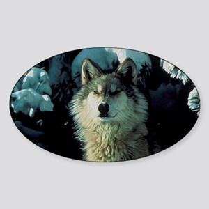 Snow Wolf Sticker (Oval)
