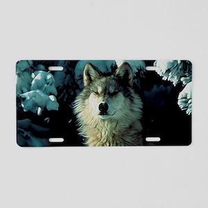 Snow Wolf Aluminum License Plate
