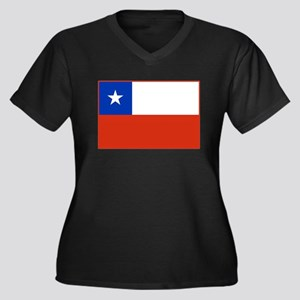 Chile Flag Women's Plus Size V-Neck Dark T-Shirt