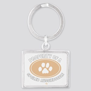 3-Dog Walker Aussiedoodle-B Landscape Keychain