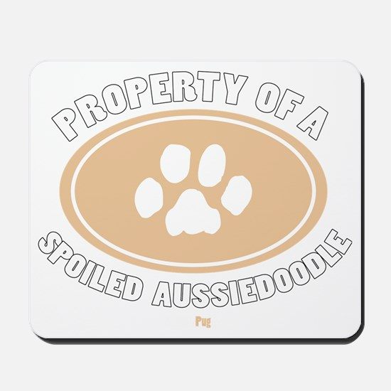 3-Dog Walker Aussiedoodle-B Mousepad